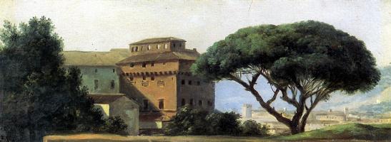 Pierre De Valenciennes. View of the monastery with umbrella stone pine