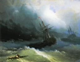 Ivan Aivazovsky. Ships on a stormy sea