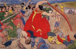 """Девушка-чернавушка побивает мужиков новгородских. 1898 Эскиз иллюстрации к былине о Василии Буслаеве для журнала """"Шут"""""""