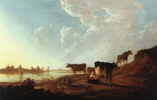 Альберт Якобс Кейп. Речная сцена с доярками
