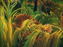 Анри Руссо. Тигр в тропическую бурю. Фрагмент