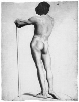 Georges Seurat. Nude from behind leaning on a stick