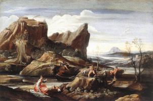 Лодовико Карраччи. Пейзаж с купальщицами