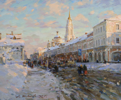 Alexander Victorovich Shevelyov. Evening on the waterfront in Rybinsk.Oil on canvas 55.5 x 68,2 cm 2011