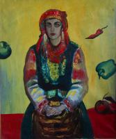 Екатерина Антропова. Портрет на желтом фоне