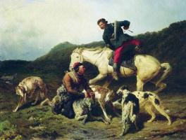 Петр Петрович Соколов. Охота на волка. 1873