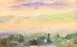 Джон Лафарг. Восход солнца в тумане над Киото
