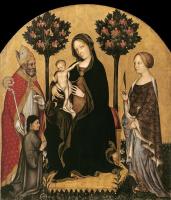 Джентиле да Фабриано. Мадонна со Святым Николаем Мирликийским, Святой Екатериной Александрийской и донатором