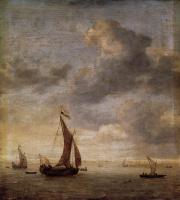 Ян Порселлис. Одномачтовое парусное судно в безветренный день