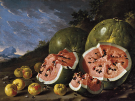 Luis Melendez. Still life with watermelons and apples in a landscape