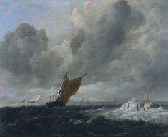 Jakob van Isaacs Ruisdael. Sailing boats in a stormy sea