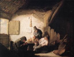 Адриан ван Остаде. Сельская таверна с четырьмя фигурами