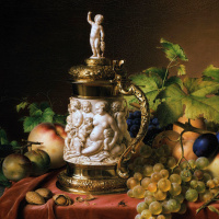 Johann Wilhelm Prairie. Fruit and a mug of ivory. 1838 detail