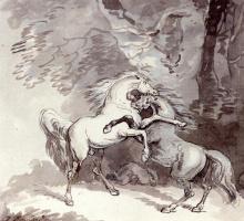 Томас Роулендсон. Борьба лошадей на лесном пути