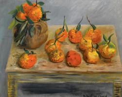Still life with oranges.