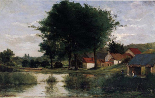 Paul Gauguin. Autumn landscape (Farm and pond)