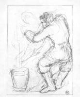 Наталья Сергеевна Гончарова. Борьба (эскиз иллюстрации к поэме М. Цветаевой «Молодец»)