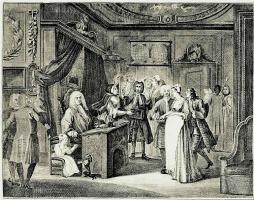 Уильям Хогарт. Молодая женщина узнает в почтенном бюргере отца своего ребенка