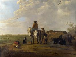 Альберт Кейп. Пейзаж с всадником, пастухи и крупный рогатый скот
