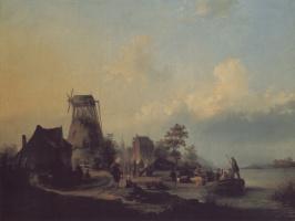 Корнелис ван Харлем. Фигуры у канала