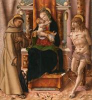 Карло Кривелли. Мадонна с Младенцем на троне со святыми Франциском и Себастьяном