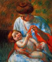 Мэри Кассат. Младенец на коленях у матери, пытается ухватиться за шарфик