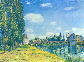 Alfred Sisley. Bridge at Moret in summer