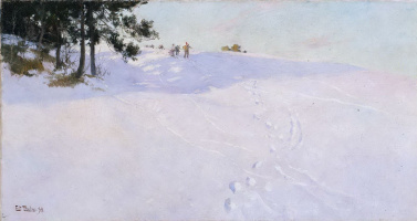 Frits Thaulow. Skiers on snowy mountain top