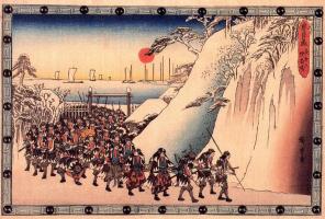 Утагава Хиросигэ. Чашингура, сказка о сорока семи ронинах. Акт XI, эпизод 6. Ронины вступают в храм Сенгакуджи поклониться богу Эньей