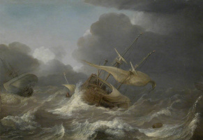 Ян Порселлис. Голландские корабли в шторм