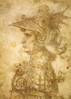 Леонардо да Винчи. Профиль воина в шлеме