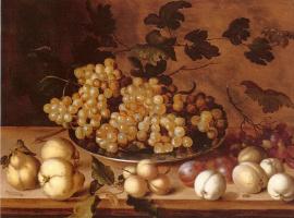 Балтазар ван дер Аст. Натюрморт с виноградом на блюде, персиками, сливами и грушами