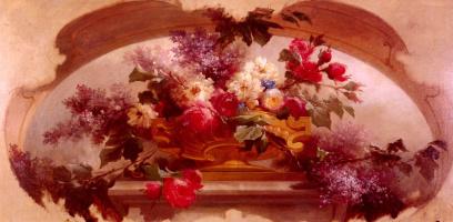 Цветы в золоченой вазе