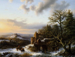 Winter landscape with ruins