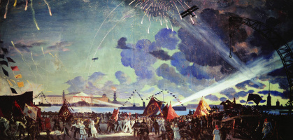 Boris Mikhailovich Kustodiev. Night celebration on the Neva river