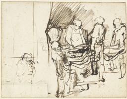 Рембрандт Харменс ван Рейн. Положение во гроб рядом с эскизом палача