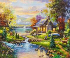 "Alexander Romm. Copy of Thomas Kinkade's painting ""Natural Paradise (Natures Paradise)"""