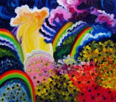 Rainbows at the waterfall. Flower glades. (Waterfall Zhigalan.