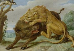 Jan van Kessel Elder. The lion and the boar