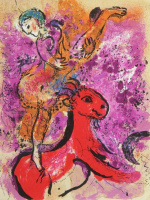 Marc Chagall. Circus. The rider on the red horse