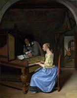 Ян Стен. Девушка играет на клавесине молодому человеку