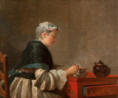 Jean Baptiste Simeon Chardin. Woman drinking tea