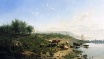 Иоганн Хубертус Леонардус де Хаас. Крупный рогатый скот на стороне Рейна
