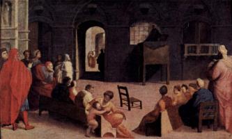 Доменико Беккафуми. Проповедь св. Бернардена на площади в Сиене