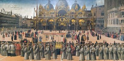 Джентиле Беллини. Процессия реликвии Святого Креста на площади Сан Марко