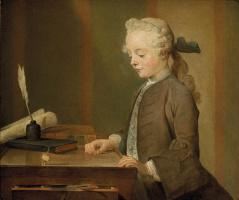 Jean Baptiste Simeon Chardin. The boy with the top. Portrait of Auguste Gabriel Godefroy II