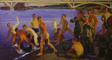 Дмитрий Дмитриевич Жилинский. «Купающиеся солдаты (Строители моста)» 1959