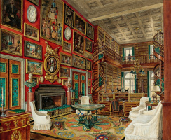Александр Борисович Серебряков. Интерьер замка Груссе, большая библиотека. 1942