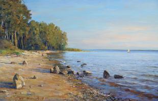 Alexander Victorovich Shevelyov. On the Rybinsk sea.Oil on canvas 52,8 x 80,5 cm, 2009