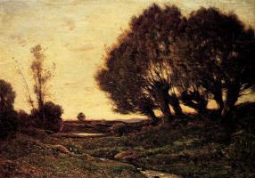Анри-Жозеф Харпигниес. Лесной пейзаж с ручьем